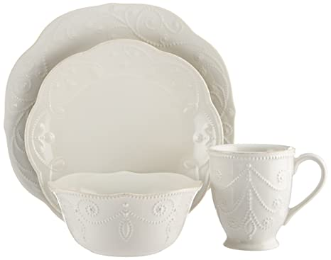 Lenox French Perle 4-Piece Place Setting White  sc 1 st  Amazon.com & Lenox French Perle 4-Piece Place Setting White