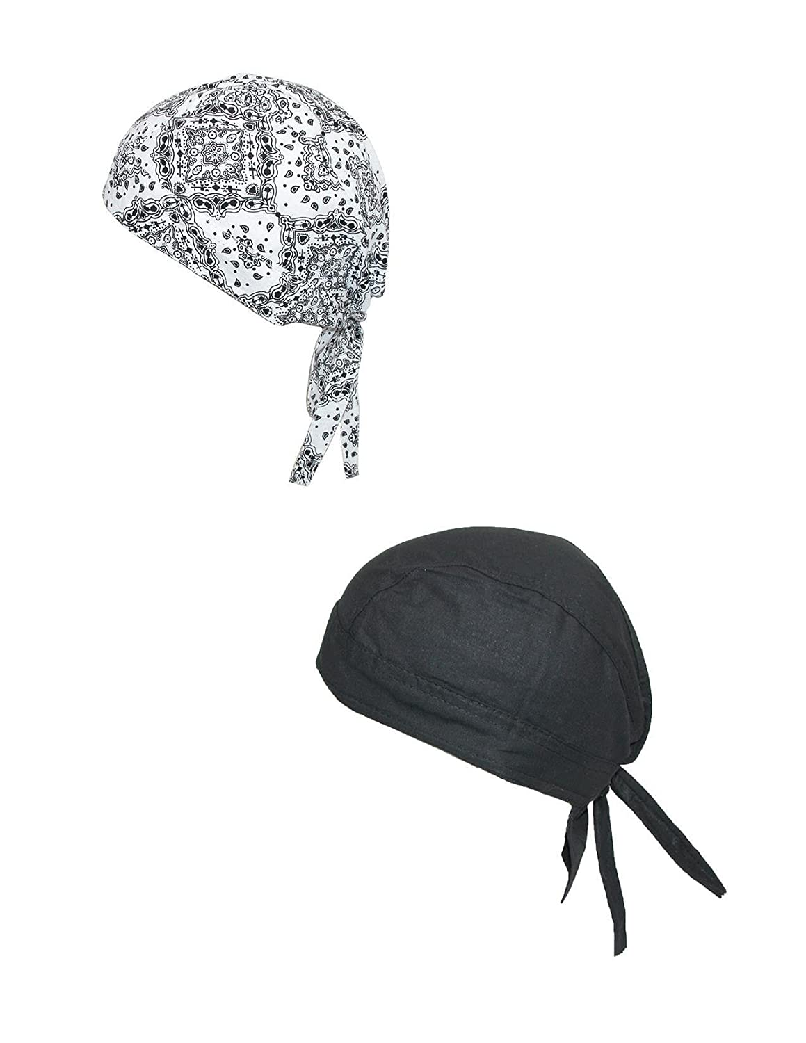 Pack of 2 New CTM Cotton Unlined Solid and Paisley Do Rag