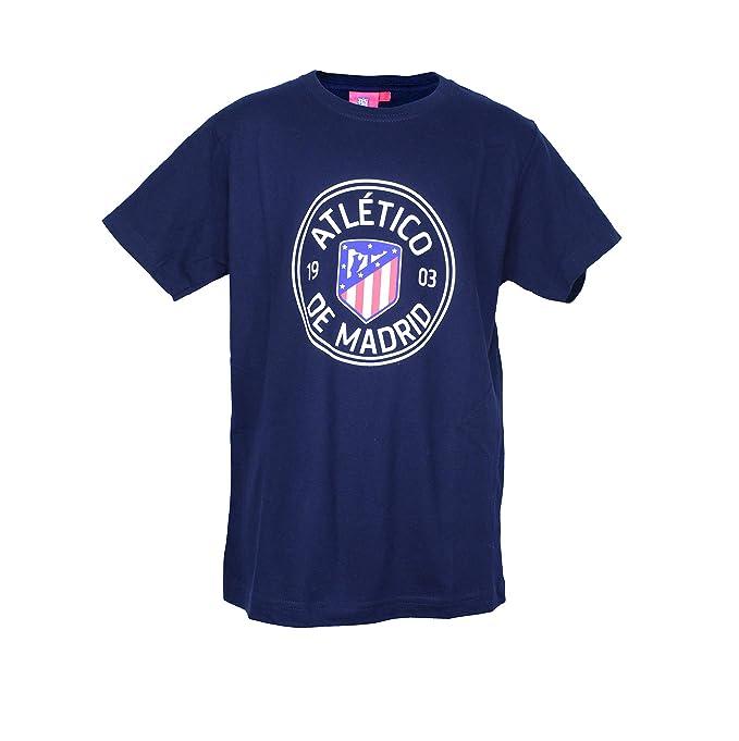 Atlético de Madrid Camiseta Print - Nuevo Escudo: Amazon.es: Ropa y accesorios