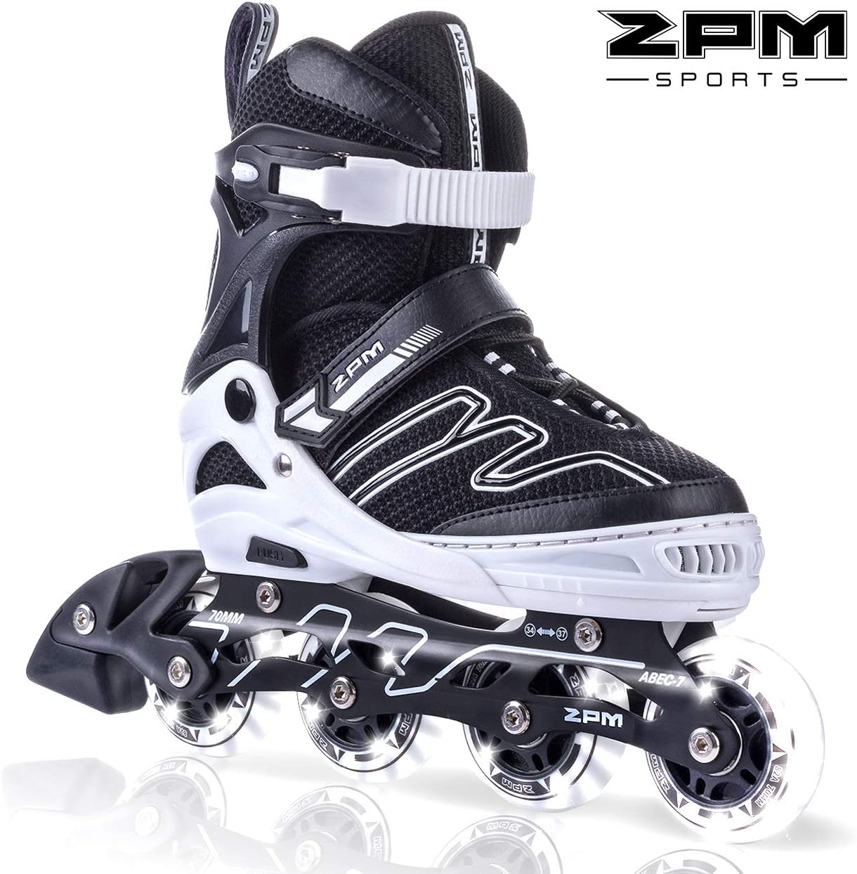 2PM SPORTS Exthrax Kids Adjustable Inline Skates with Light up Wheels, Fun Flashing Illuminating Roller Skates for Boys Girls, Men and Ladies