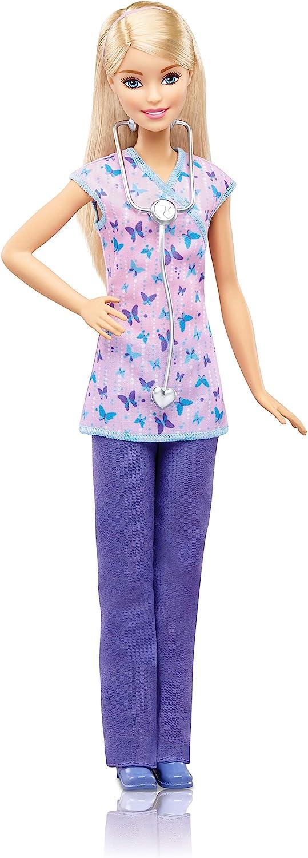 Barbie- Nurse Doll Muñeca quiero ser enfermera, Multicolor (Mattel DVF57)
