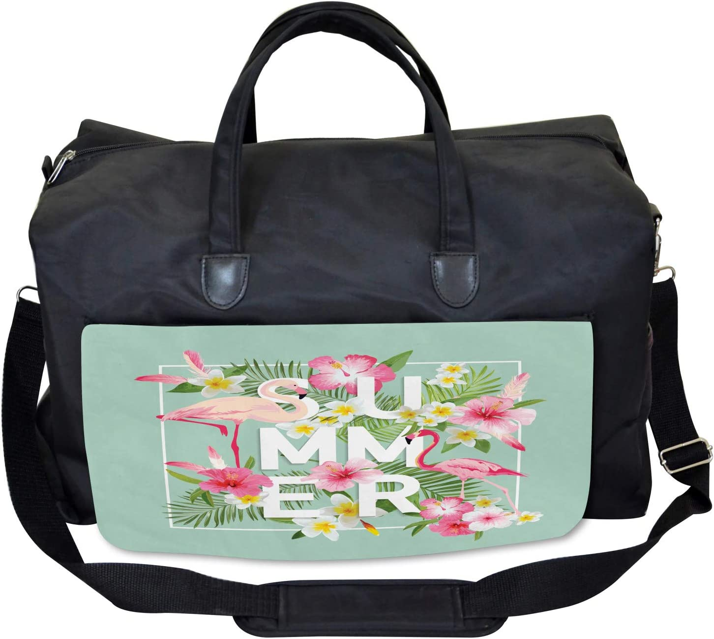 Large Weekender Carry-on Ambesonne Floral Gym Bag Tropical Retro Flowers