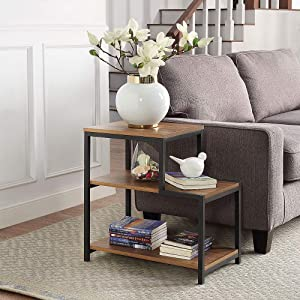 ROSEN GARDEN 3-Tier End Table, Side Table with Shelves, Accent Wood Nightstand with Storage Display Shelf, Stable Metal Frame, Modern Furniture for Sofa Couch Side Living Room Entryway Bedroom