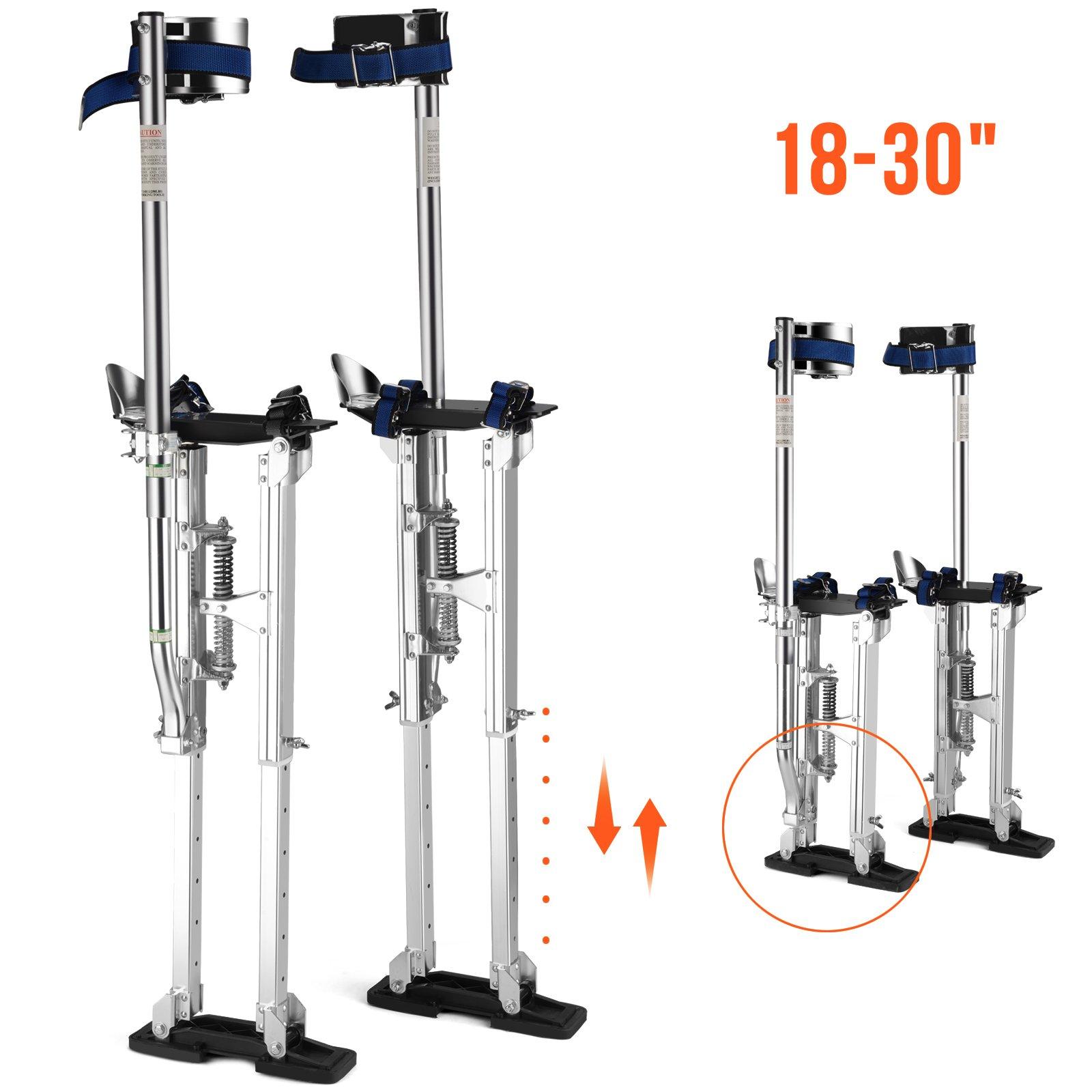 SUNCOO 18''-30'' Heavy-Duty Drywall Stilts Aluminum Tool Stilt Painter Taping Walking Finishing,330lb s. Load Capacity, Adjustable Height,Silver