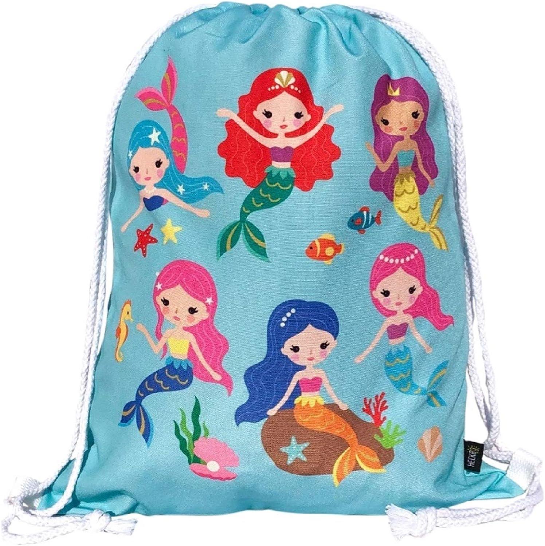 HECKBO Mochila niñas con dibujo de sirena - impresa por ambas caras con dibujos coloridos de sirenas - 40x32 cm - se puede lavar a máquina - apta para hacer deporte, para el colegio