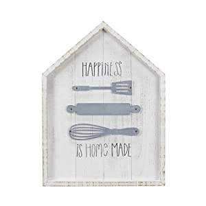 NIKKY HOME Happiness is Homemade Wood Rustic Kitchen Wall Sign Decor