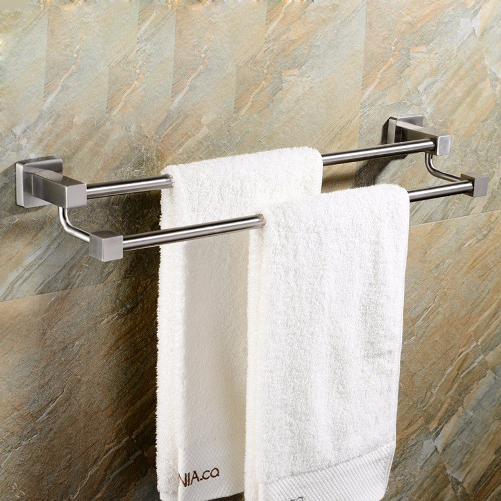 Yomiokla Bathroom Towel rack Tower hanger Towel Ring Double bar 304 Stainless Steel Wall of stringing Technology Home
