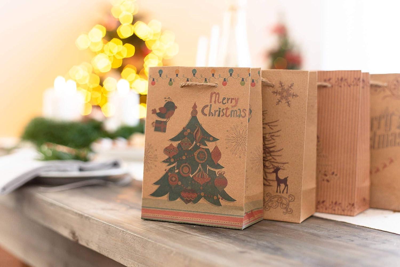 carta kraft 12 pezzi 11,5 x 6 x 16 cm 100/% Mosel Mini sacchetti regalo piccoli sacchetti per regali di Natale sacchetti regalo