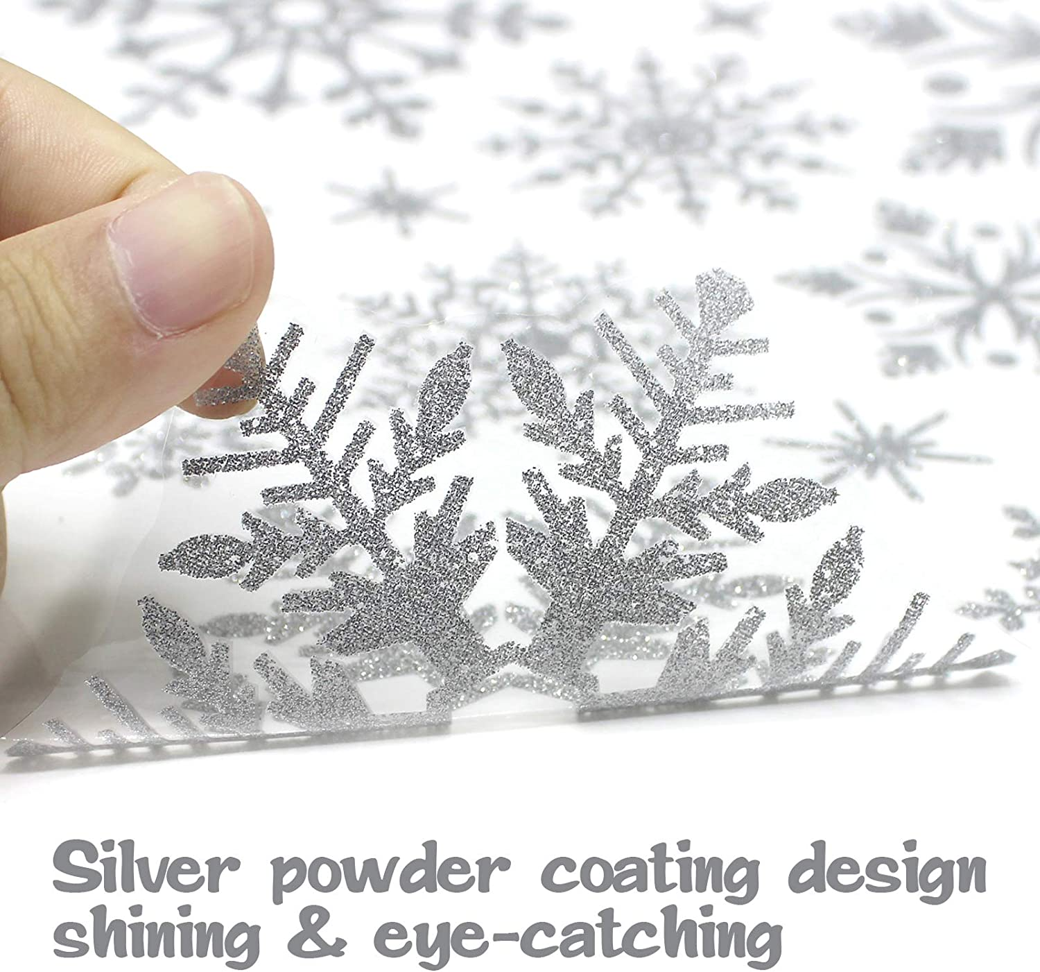 Xmas Decals Decorations Snowflake Santa Claus Reindeer Clings for Christmas Holiday Party 178 PCS 8 Sheet Christmas Window Clings Snowflake Stickers for Glass