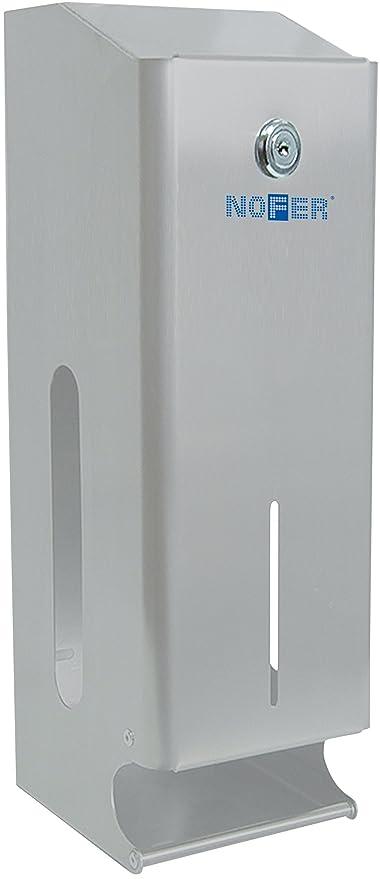 Nofer 05102.s Nova – Dispensador Triple de Papel higiénico Inoxidable Satinado Plata 40 x