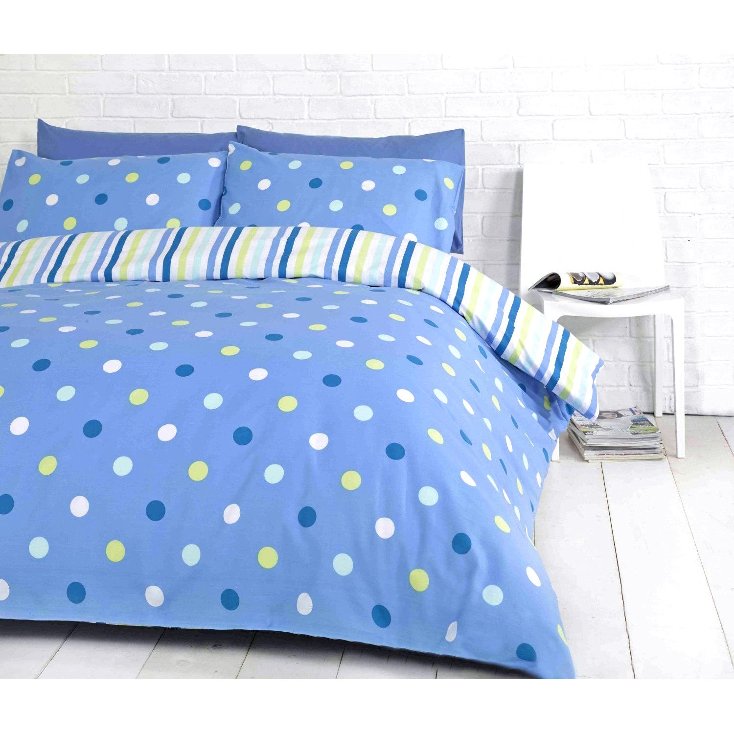Blue polka dot bedding - Bright Spot Duvet Cover Polka Dot Reversible Stripe Bedding White Blue Bed Set Amazon Co Uk Kitchen Home