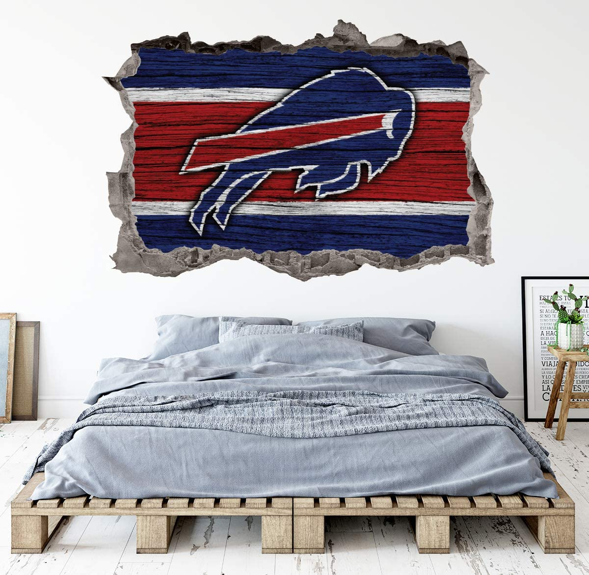 Football Buffalo Team Wall Decals Art 3D Smashed Custom Fan Bills Wall Decor Bedroom Garage Removable Vinyl Wall Stickers Gift WL176