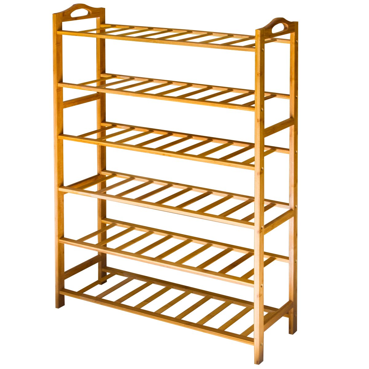 ANKO Bamboo Shoe Rack, 100% Natural Bamboo Thickened 6-Tier Mesh Utility Entryway Shoe Shelf Storage Organizer Suitable for Entryway, Closet, Living Room, Bedroom. (1 PACK)
