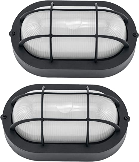 Amazon Com Yaokuem Outdoor Led Bulkhead Light Worked As Outdoor Flush Mount Ceiling Light Wall Lantern 6w 520lumens 5000k Daylight Dimmable 2 Pack Home Improvement