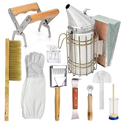 LTLR Beekeeping Honey Tools Starter Kit Set of 10 Bee Hive Smoker Equipment Supplies - Beekeeper Gloves/Bee Brush/Bee Feeder