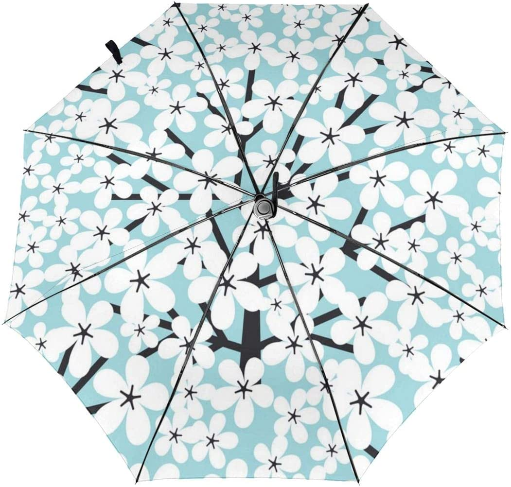 Pear Flower Pattern Automatic Tri-fold Umbrella Folding Rain Umbrell Sunshade