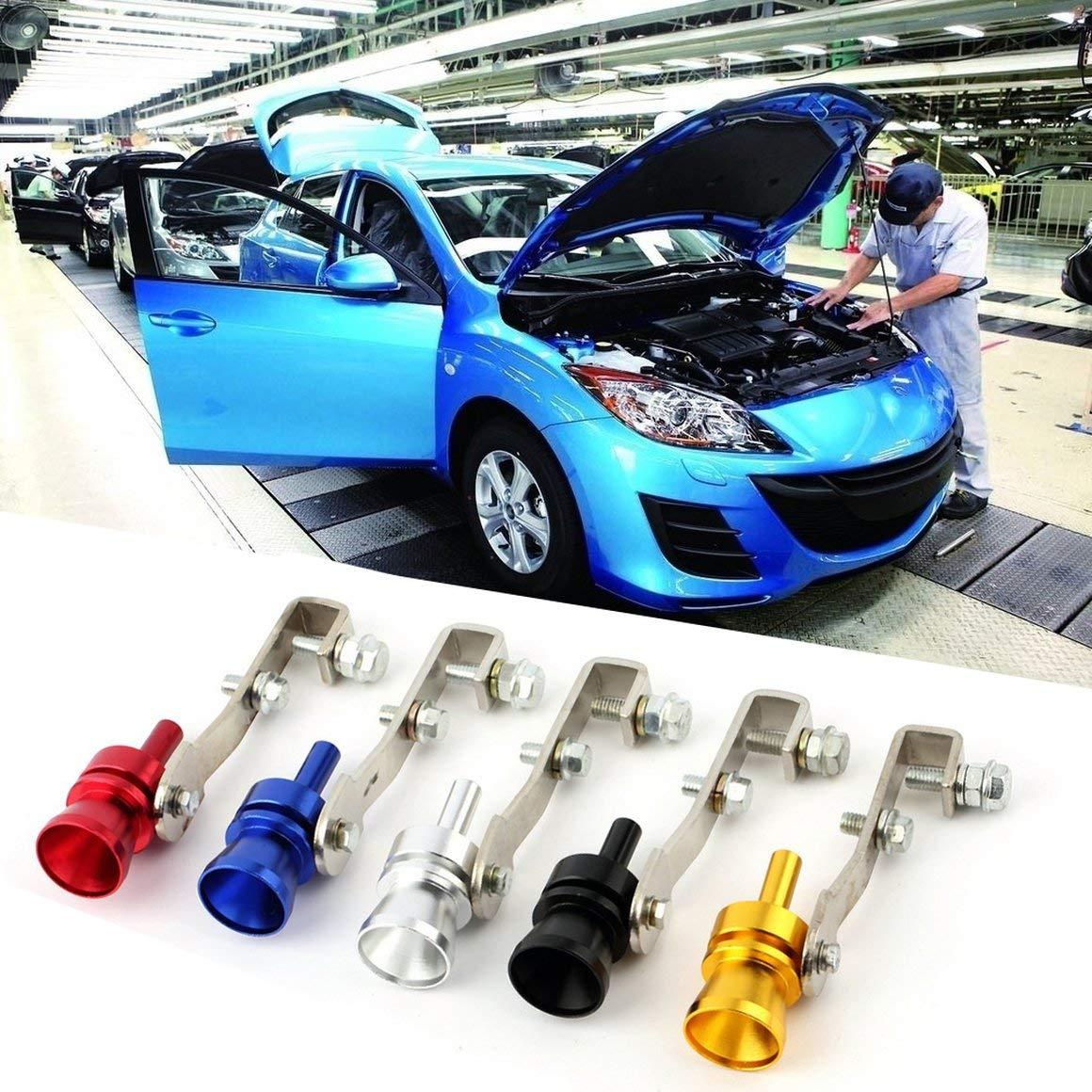 Funnyrunstore Universal Aluminium Cars Auto BOV Turbo Tube son de sifflet Son Tube de simulateur sonore Tube de tuyau d/échappement silencieux argent
