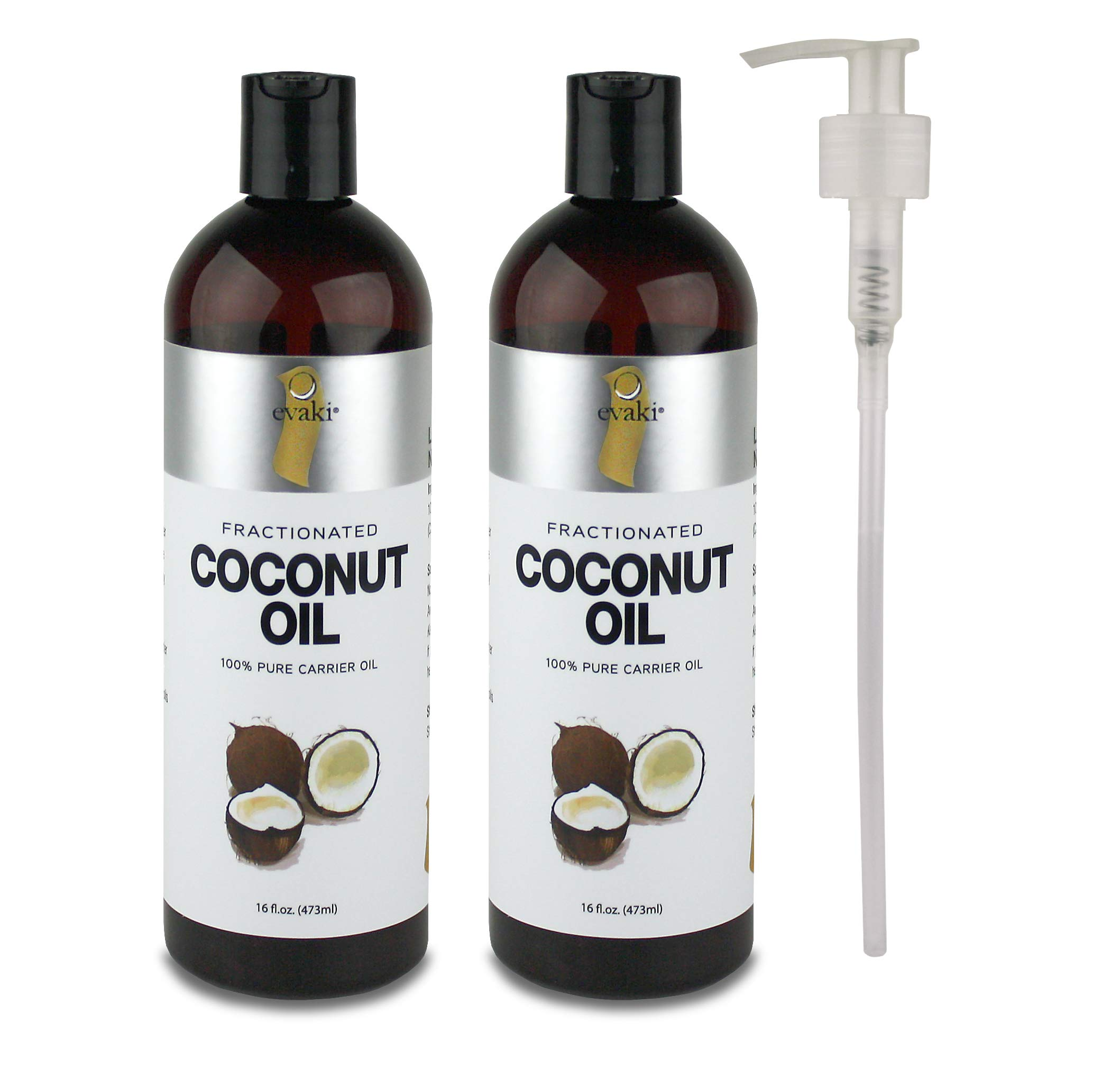 2-PACK Evaki 16oz Fractionated Coconut Oil + Hand Pump + Dispensing Cap— Bottled in the USA; A Must Have for Skin & Hair Care, Massage Therapy and Aromatherapy (32 Total Ounces!)