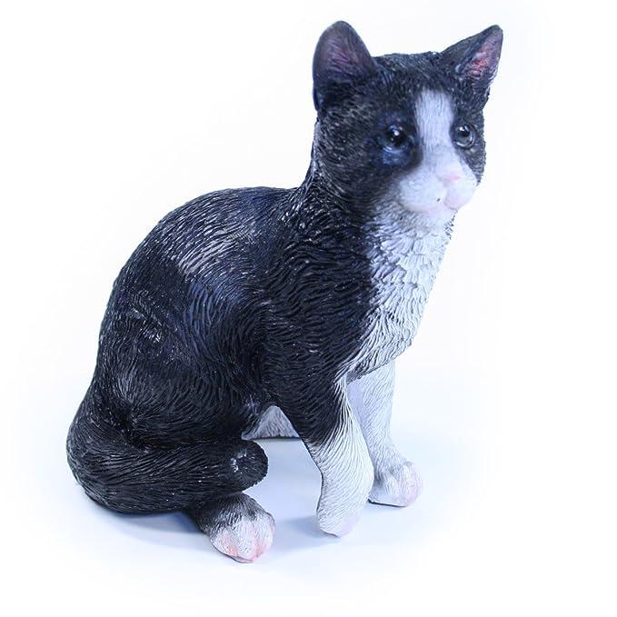 Figura Gato, Negro - Figura de gato de resina para jardín y casa, aprox. 10 cm x 8 cm x 13 cm: Amazon.es: Jardín