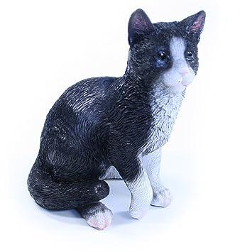 Figura Gato, Negro - Figura de gato de resina para jardín y ...