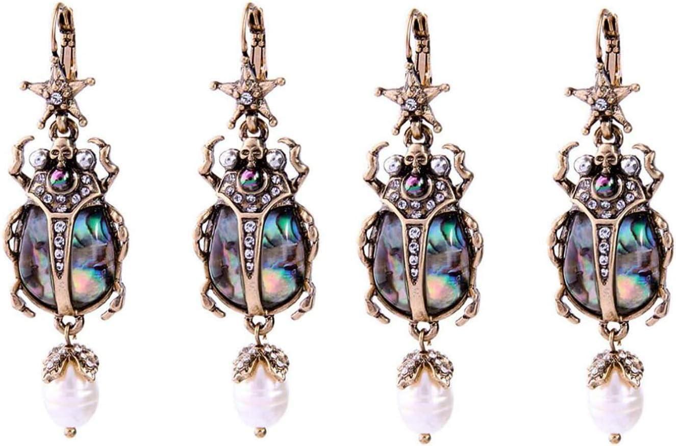 HBBOOI Pendientes de la Vendimia de Insectos Pendientes de la señora Mariquita Sección Largo de Perlas de imitación Artificial de Piedras Preciosas Joyas de Moda Personalizado de Regalo
