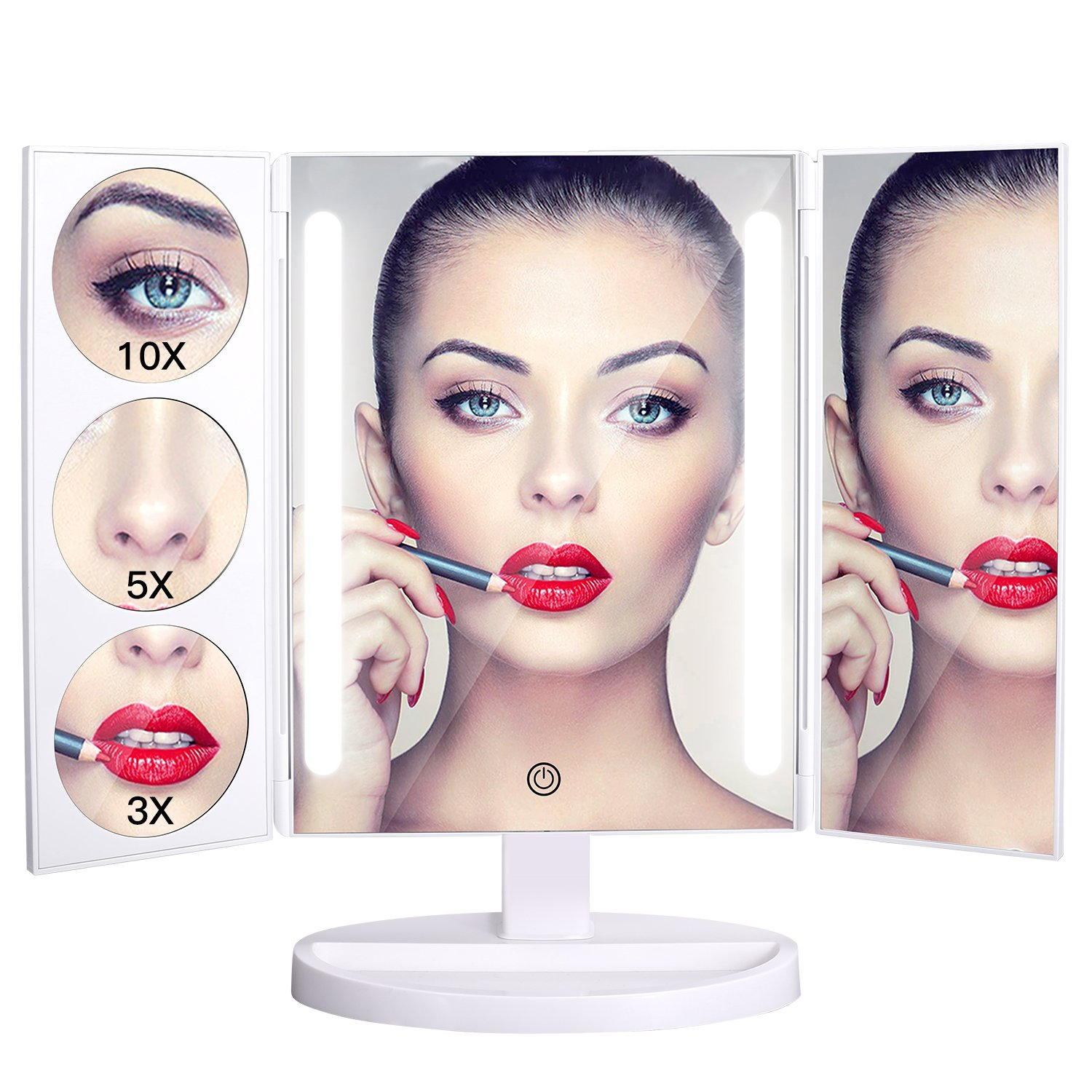 BESTOPE Makeup Mirror Oversize 18.8inch Lighted Vanity Mirror with 10X/5X/3X Magnification, 26 LED Light Trifold Cosmetic Mirror with 360° Rotation and Touch Screen by BESTOPE (Image #8)