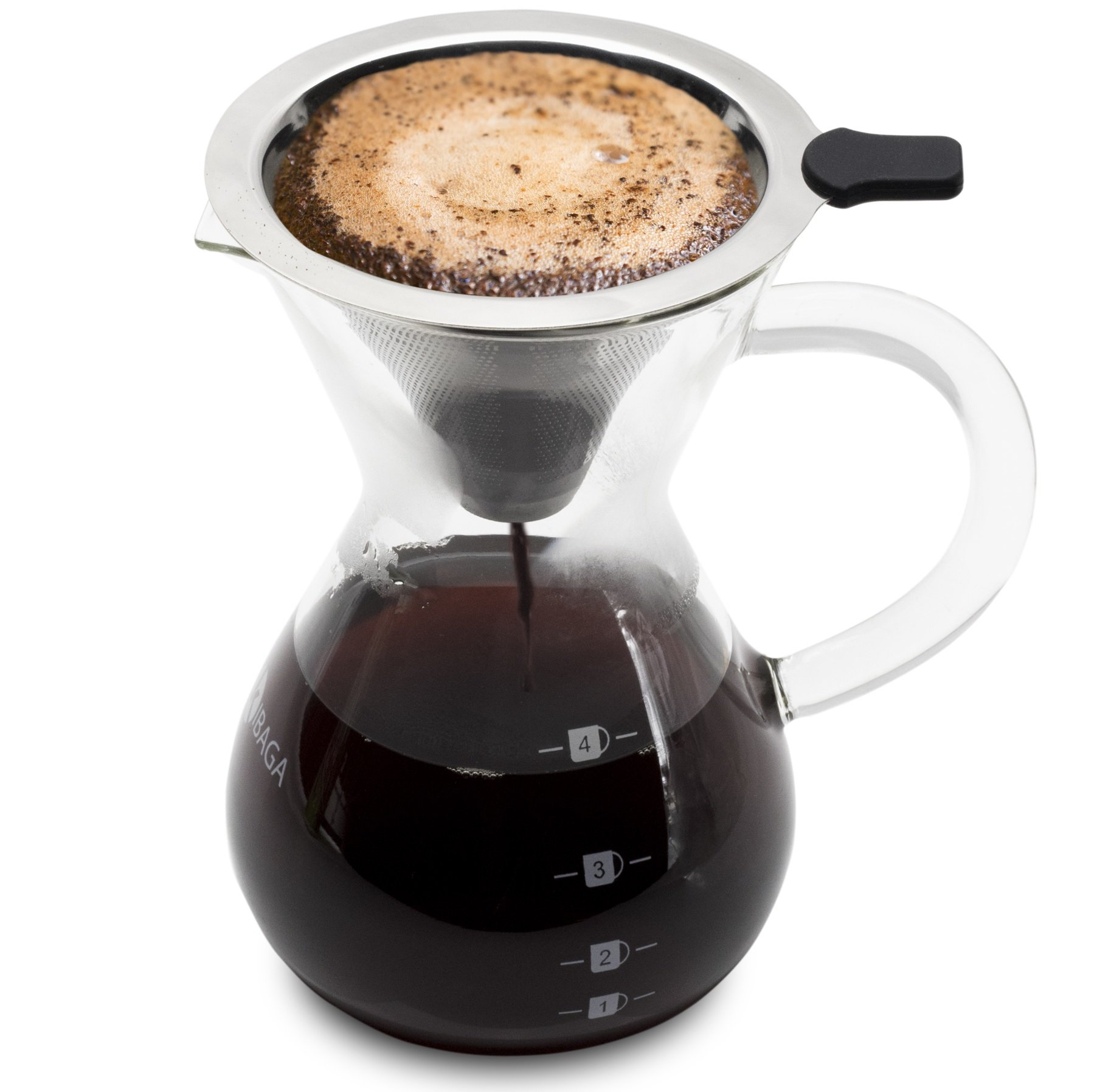 Premium Pour Over Coffee Dripper Set With Classy 14 Oz Glass Carafe - Stainless Steel Pour Over Coffee Maker/Reusable Coffee Filter Guarantees Bolder Flavors & The Best Coffee Experience by KIBAGA
