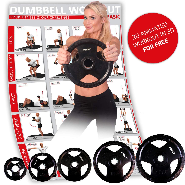 POWRX Discos olímpicos 5-40 kg - Pesas Ideales para Mancuernas y Barras olímpicas con diámetro 51 mm (2 x 10 kg): Amazon.es: Deportes y aire libre