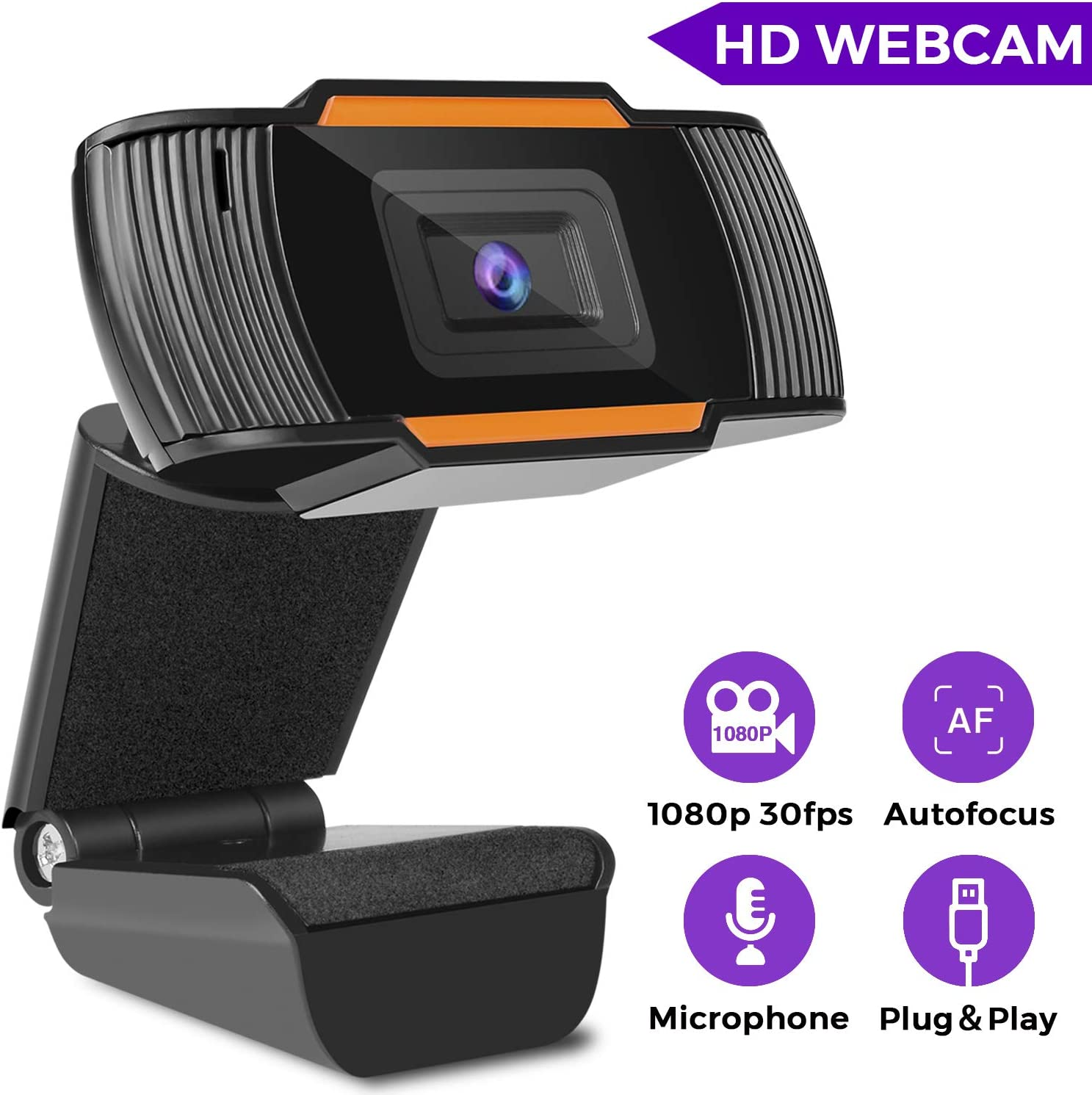Webcam with Microphone, HD Webcam 1080P, Web Cameras for Computers, PC Camera USB Webcam for Laptop Streaming, Video Chatting