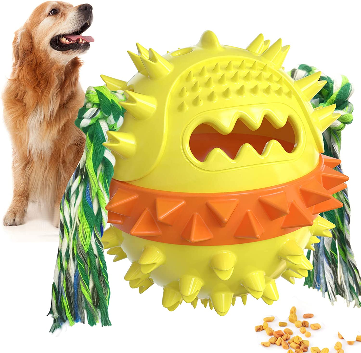 Dog Toys Ball, Non-Toxic Bite Resistant Molar Toy for Puppy Dog or Cat, Treat Toy Ball as Squeaking Food Leaking Ball/ Chew Toy/ Teeth Cleaning Ball/ Bouncy Toy with Rope for Pet IQ Training/ Playing