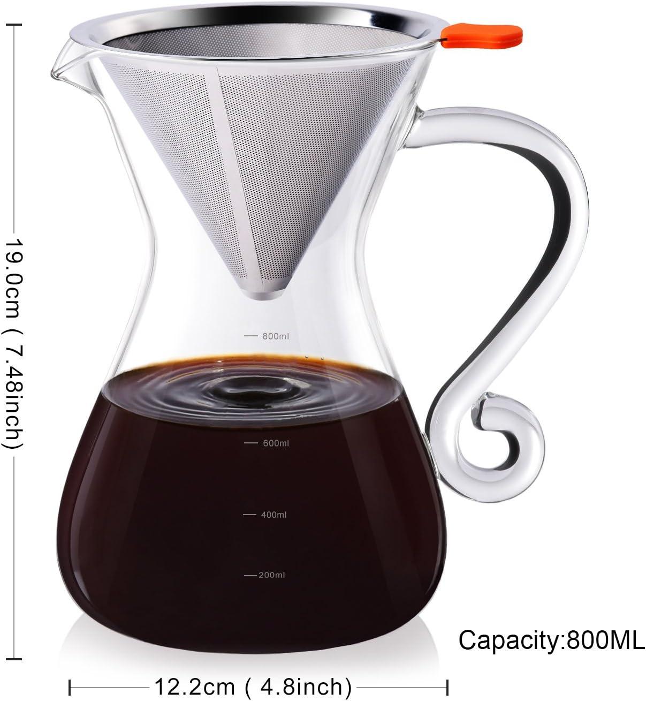 200mL//400mL Klassische Glas Kaffeebereiter Kaffeekanne Teekanne mit Stahlfilter