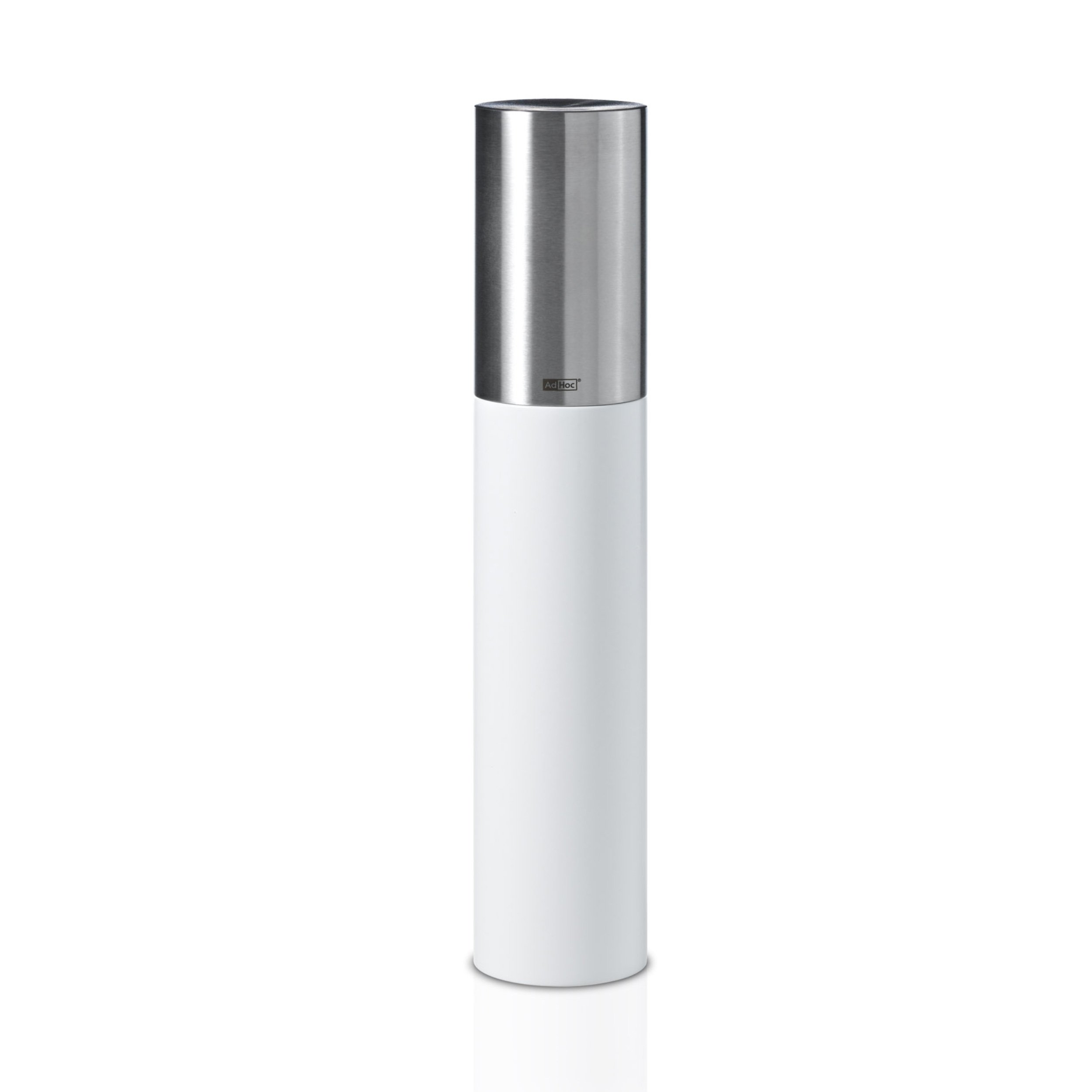 AdHoc Salt or Pepper Mill Goliath Medium White, Stainless Steel / Birch Wood White Lacquered, Ceramic Grinder, 30 cm, MP83W