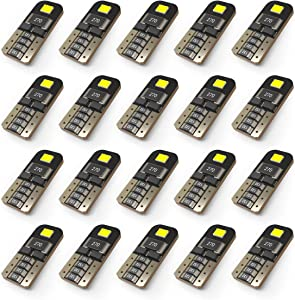 KAFEEK 20x T10 Wedge 194 168 2825 W5W LED Bulbs, Super Bright 2-2835 Chipset, CAN-Bus Error Free, Interior Lights, License Plate Dome Map Door Courtesy Park Lights,Xenon White