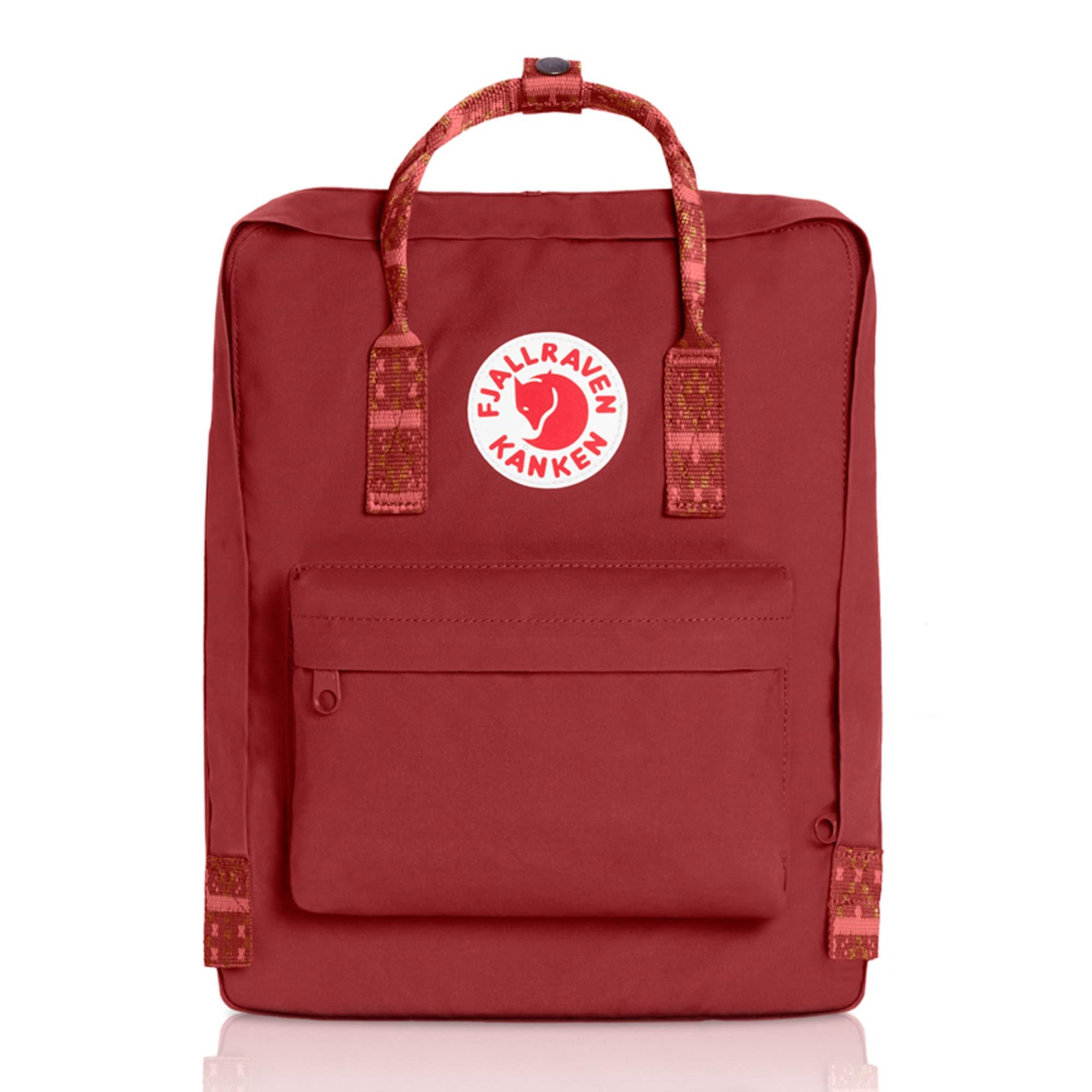 Fjallraven - Kanken Classic Backpack for Everyday, Deep Red/Folk Pattern
