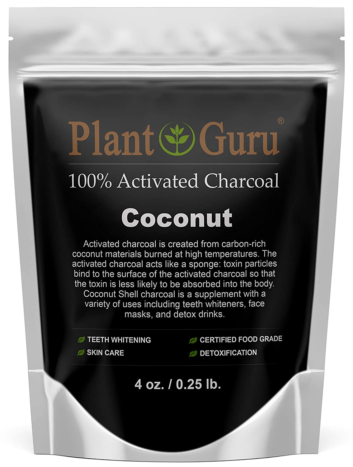 Activated Charcoal Powder 4 oz. COCONUT - Food Grade Kosher Non-GMO - Teeth Whitening, Facial Mask and Soap Making. Promotes Natural Detoxification and Helps Digestion