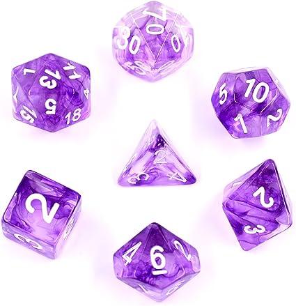 7 Sided Purple Die D4 D6 D8 D10 D12 D20 DUNGEONS/&DRAGONS D/&D RPG Dice Game Set m