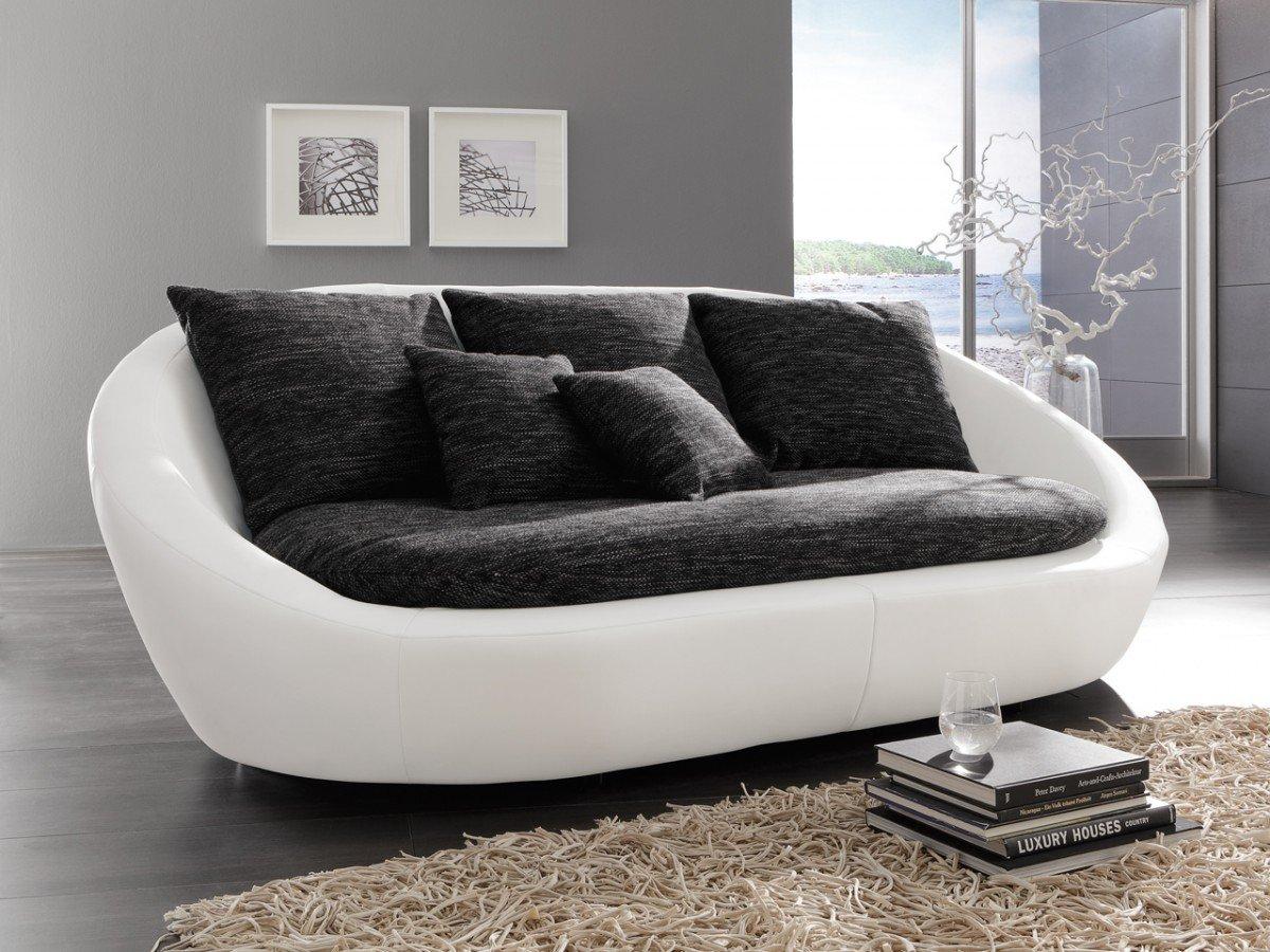 Dreams4Home Megasofa 'Bari' - Sofa, Couch, Polstergarnitur, Clubsofa, Loungesofa, Relaxsofa, Megasofa, Bigsofa, Wohnzimmer, Polstersofa, Stellmaß BxT: 237 x 131 cm, in schwarz-grau und Kunstleder schneeweiß