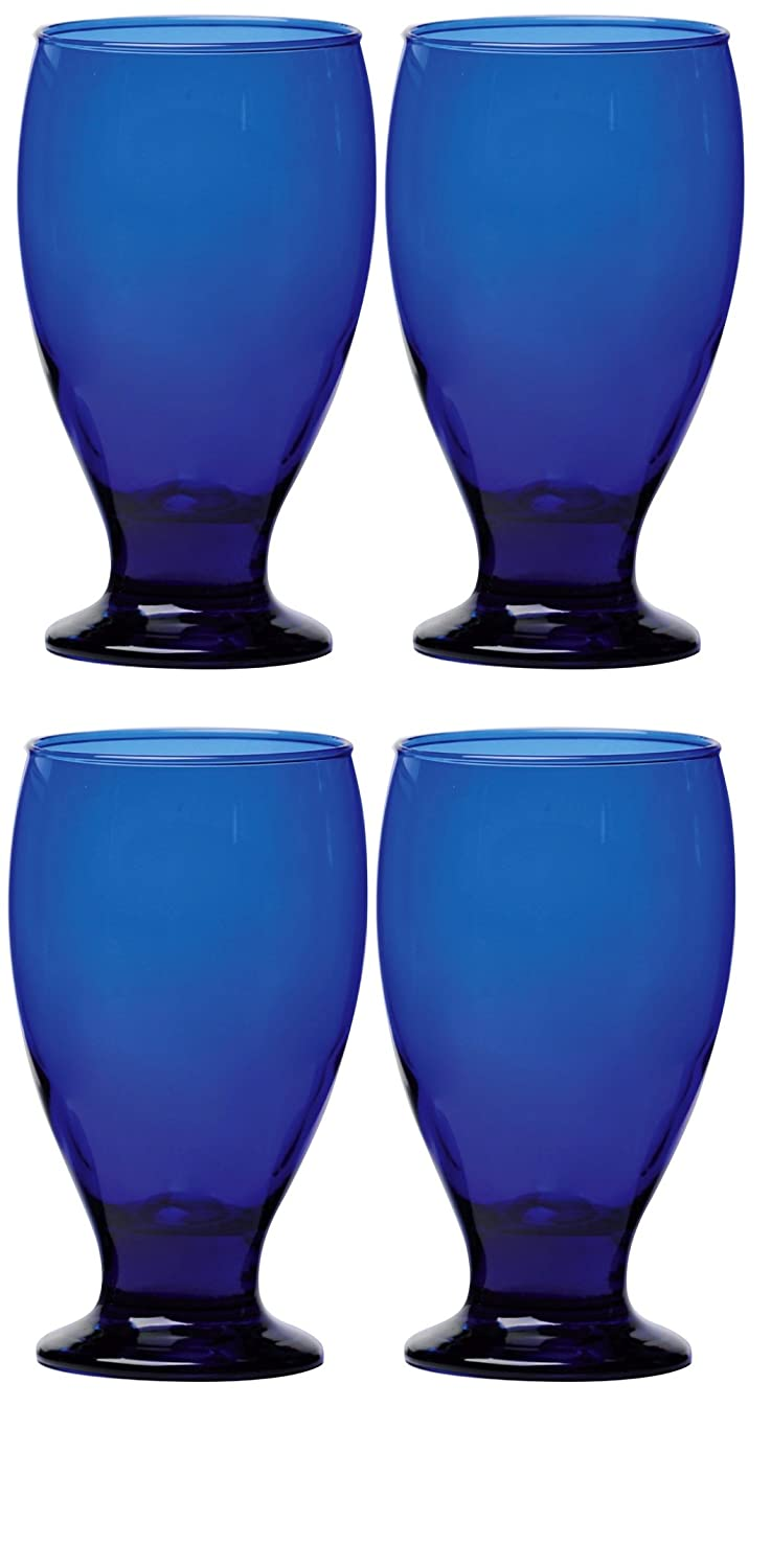 Circleware Uptown Colbalt Glass Drinking Goblets, Set of 4, 12 Ounce 44312