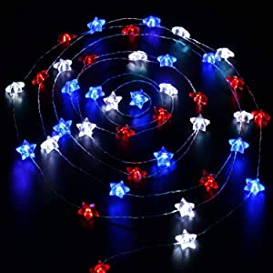 Indoor String Lights,USA American Flag Stars Lighting 4th of July Decorations,Patriotic Decorations,10Ft 40Led Battery Operated with Remote Timer for Garden Patio Bedroom Decor Independence Day