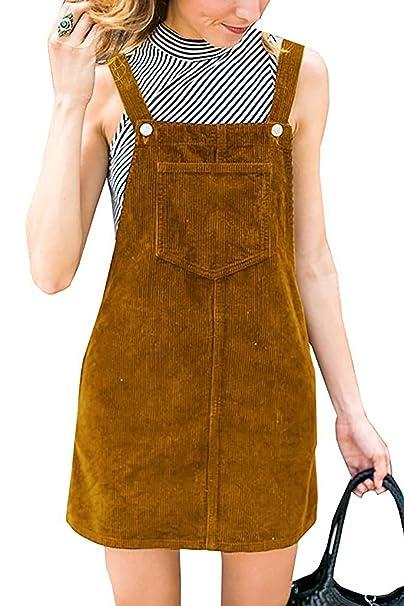 3bb7ceb143d Salimdy Women s Straps A Line Corduroy Cord Pinafore Bib Skirt Overall Mini  Dress Yellow L