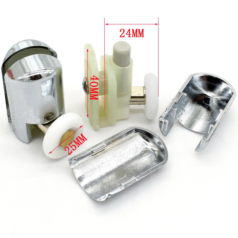 4/x Chromeplated solo ducha rodillos//corredores//ruedas recambios 23/mm