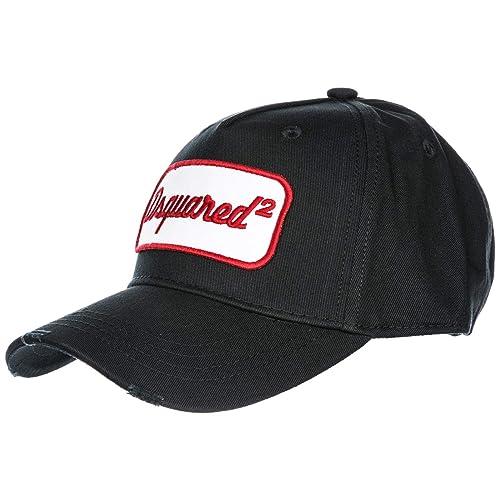 Dsquared2 cappello berretto regolabile uomo in cotone originale nero ... df9bf5c9b448