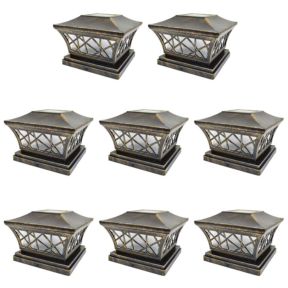 iGlow 8 Pack Vintage Bronze 6 x 6 Solar Post Light Frosted Lens SMD LED Deck Cap Square Fence Landscape PVC Vinyl Wood