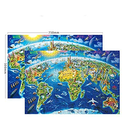 Darkduke - Jigsaw Puzzles 1000 Pieces for Adults Kids Parent-Child Interactive Puzzle Handmade Jigsaw Toy Decoration Bedroom Living Room - World Map (A): Arts, Crafts & Sewing