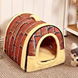 Dog House Kennel Nest With Mat Foldable Pet Dog Bed Cat Bed House
