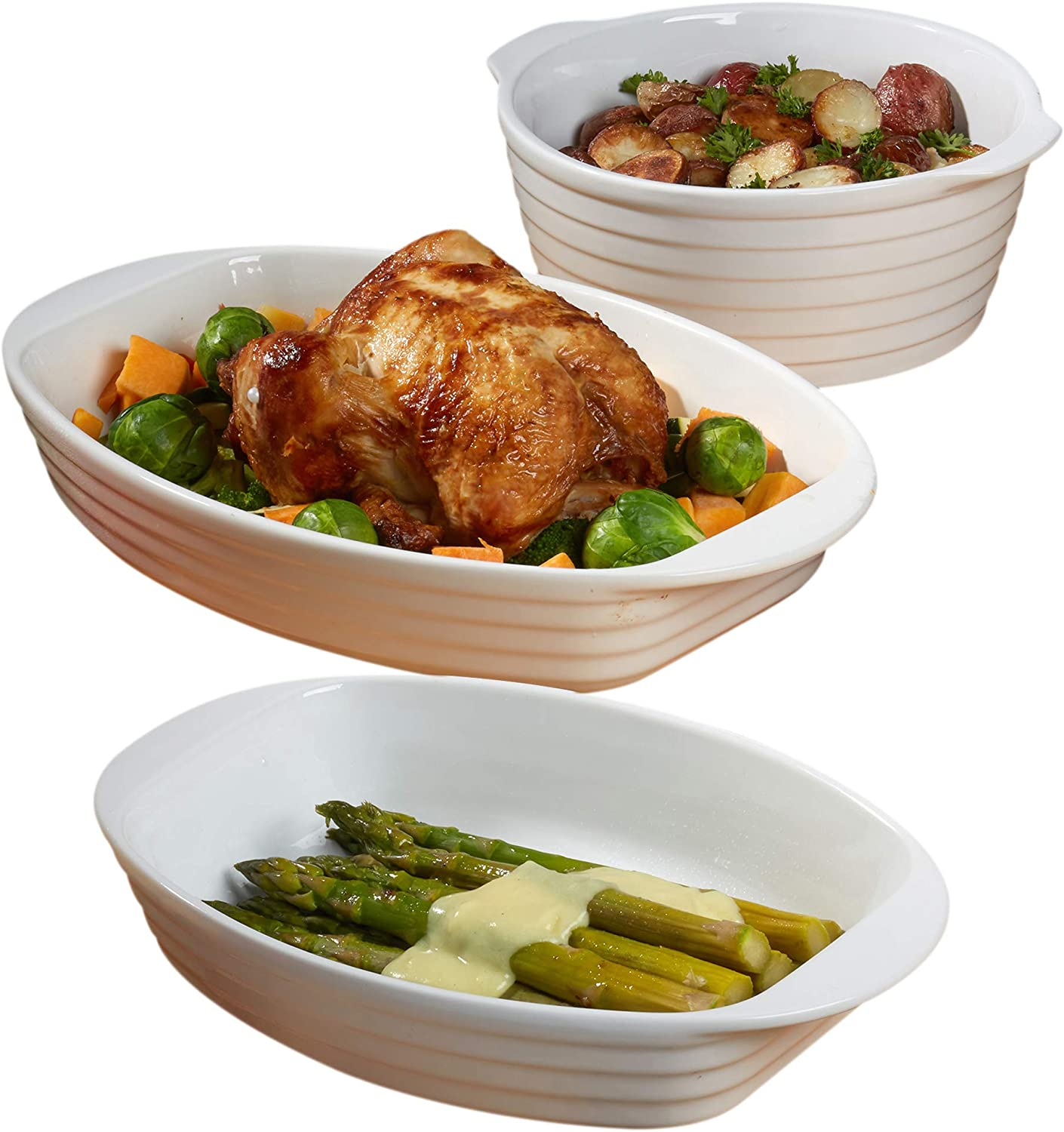Certified International 3 Piece Set Cookware, Bakeware, Cooking Accessories, White