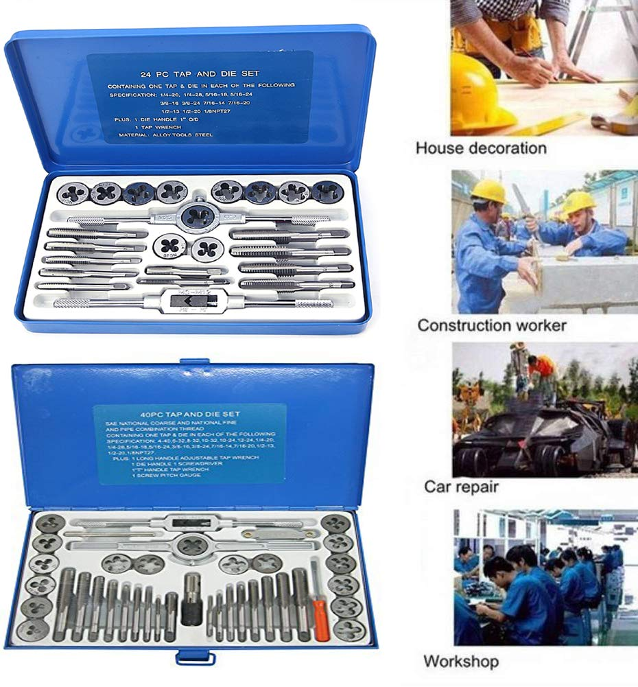 NORTOOLS Alloy Steels Tap and Die Set SAE Inch Sizes Essential Threading Home Tool Cutting Threads Gauge Kit with Storage Case for Occasional Use 24//40-Piece