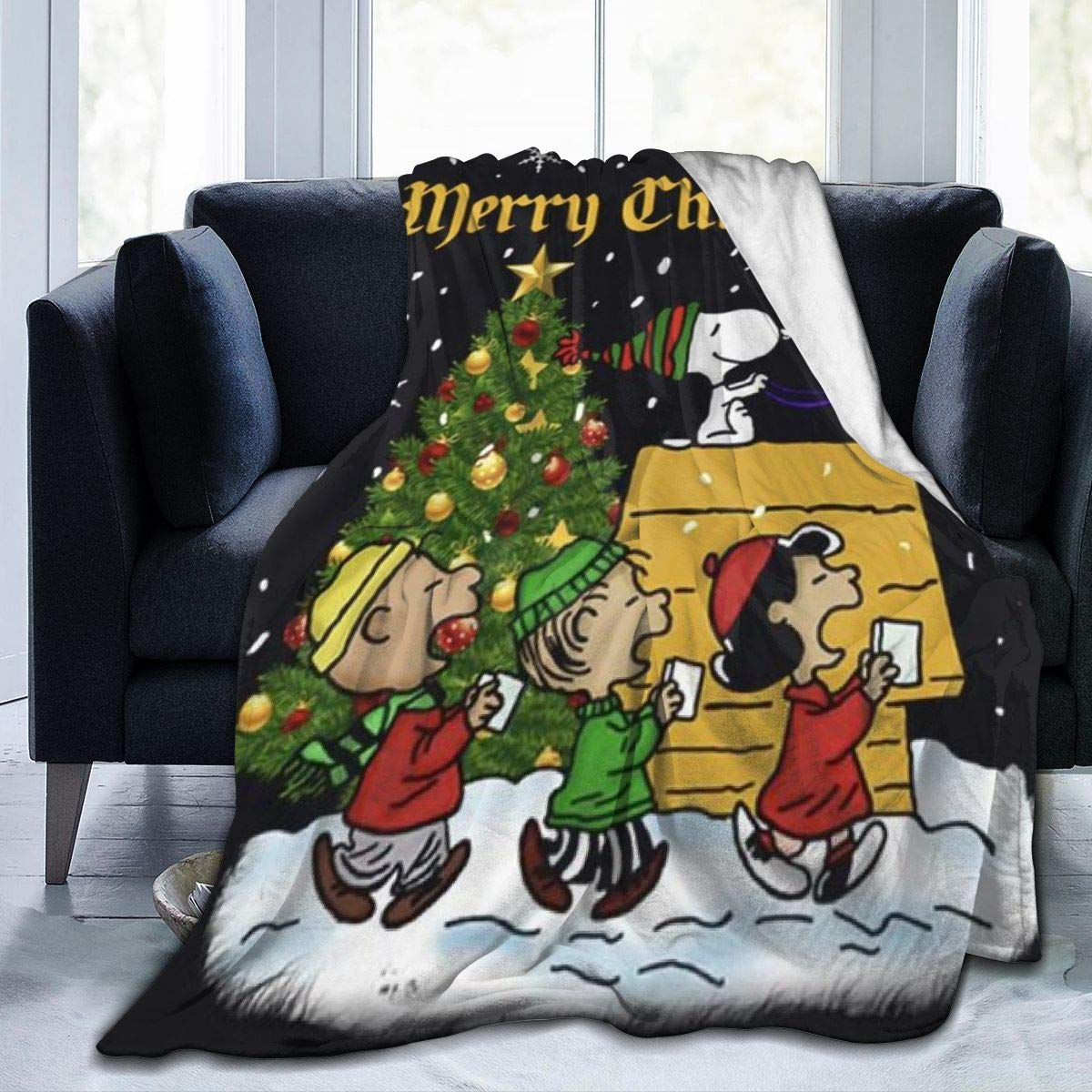 Criss Snoopy Merry Christmas Throw Blanket Ultra Soft Thick Microplush Bed Blanket-All Season Premium Fluffy Microfiber Fleece Throw for Sofa Couch Throw80 x60 by Criss