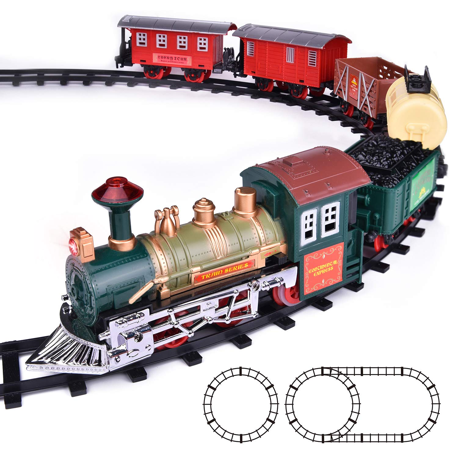 FUN LITTLE TOYS Train Set Classic Electric Train Toy Included 6 Cars and 11 Tracks with Lights and Sounds by FUN LITTLE TOYS