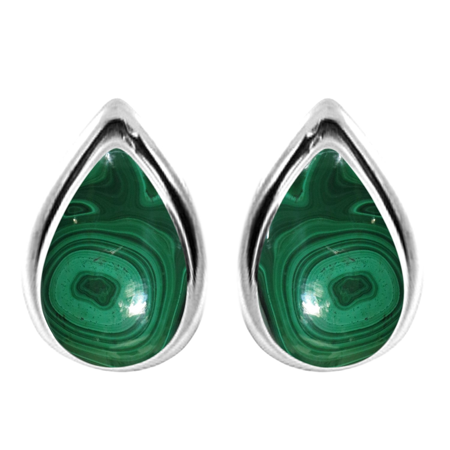 3.10ctw, 6x9mm Pear Genuine Malachite & 925 Silver Plated Stud Earrings
